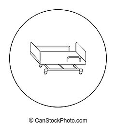 Hospital gurney icon outline. Single medicine icon from the...
