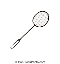 Racket icon - Hand drawn badminton racket icon isolated on...