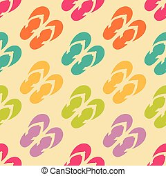 Seamless pattern with colorful flip flops - Vector seamless...