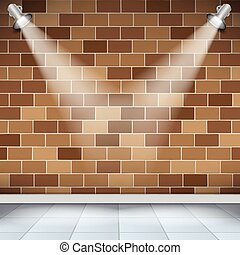 Empty room with brick wall and tile floor