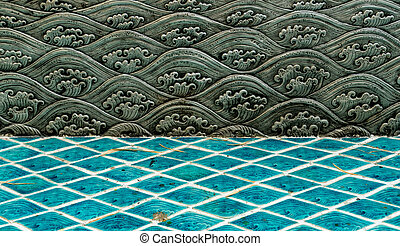 Thai style sea wave pattern - Silver plate craft, Thai style...