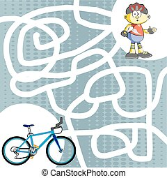 Labyrinth maze child find his bike - You can help the child...
