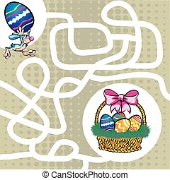 Labyrinth maze easter rabbit and basket - You can help the...