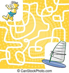 Labyrinth maze for children - You can help the boy find his...