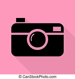 Digital photo camera sign. Black icon with flat style shadow...