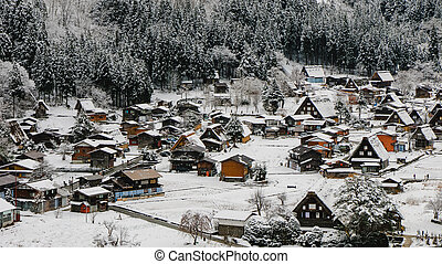 Shirakawago light-up with Snowfall Gifu Chubu Japan. Vintage...