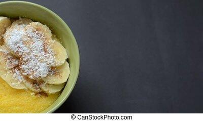 Corn porridge (polenta, hominy). Healthy breakfast concept....