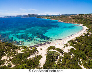 Aerial view of Palombaggia beach in Corsica Island in France...
