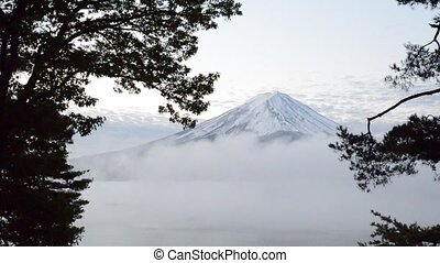 Timelapse mount fuji and moving fog in the morning at kawaguchiko japan