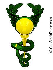 3D Asclepius medical symbol