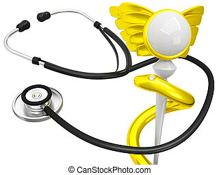 3D Caduceus Medical Symbol with stethoscope