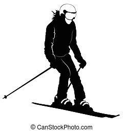 Black-and-white silhouette of the skier going down the hill - vector