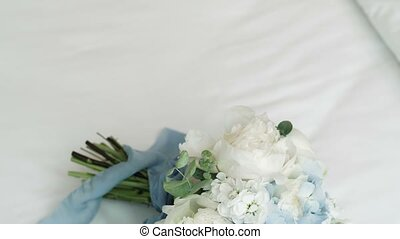 Wedding bouquet on white background shot