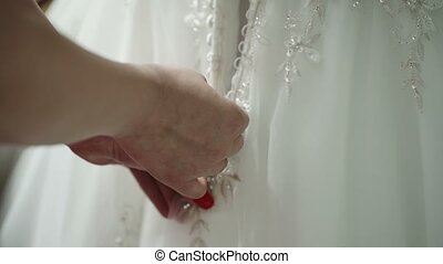 Zipping wedding dress - Zipping white wedding dress closeup