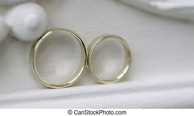 Wedding rings on white background shot