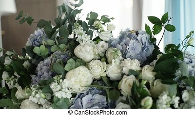 Big flowers composition with blue and white flowers