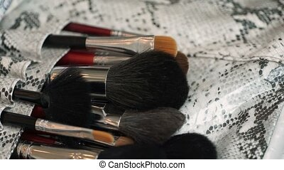 Makeup brushes pan shot - Makeup professional brushes pan...
