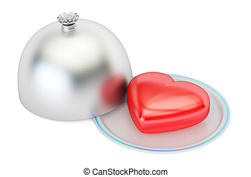 Heart on a silver platter, valentines day concept. 3D...