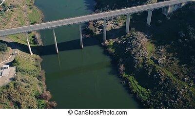Aerial View Bridge near Town Mertola, Portugal