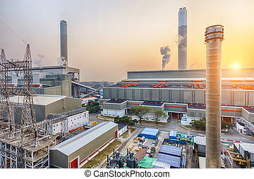 Hong Kong power station at sunset
