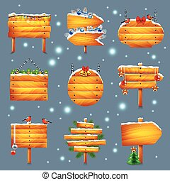 Christmas wooden signs vector set