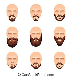 Hipster mustache and beards icons vector set - Hipster...