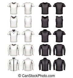 Male t-shirts vector set - Male t-shirts detailed photo...