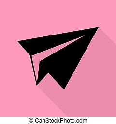 Paper airplane sign. Black icon with flat style shadow path on pink background.