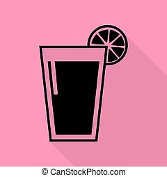Glass of juice icons. Black icon with flat style shadow path...