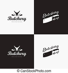 Set of butchery logo templates. Butchery labels with sample...