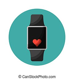 smartwatch with cardio app vector illustration design