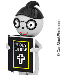 3D Man with the holy bible