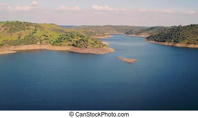 Aerial View Reservoir near Dam, Portugal