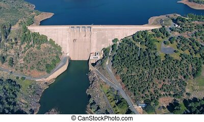 Aerial View of Dam near Pomarao, Portugal