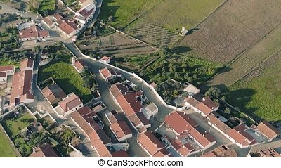 Aerial View Red Tiled Roofs Typical Village, Portugal