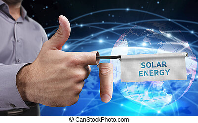 Business, Technology, Internet and network concept. Young entrepreneurs have a creative approach to the presentation: Solar energy
