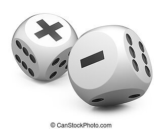 white game dices wit plus an minus sign.