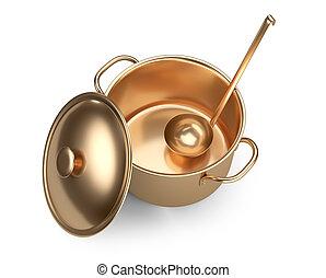 Golden saucepan, ladle and lid, top wiev.