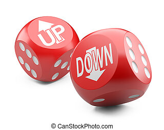 red game dices wit up an down arrow sign