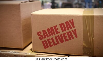 Same day delivery cartons at logistics center - Goods packed...