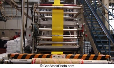 Yellow plastic bags factory line - Plastic production line...