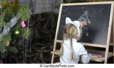 Girl child erases the board for drawing - Painted in image...