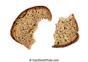 Two half-eaten piece of dry rye bread isolated on white...