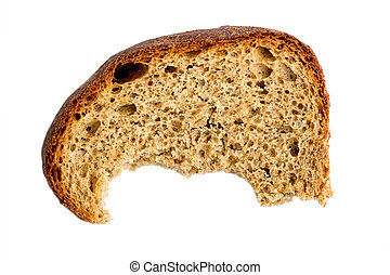 Half-eaten piece of dry rye bread isolated on white...