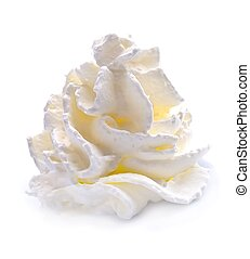 Whipped cream . - Whipped cream isolated on white...