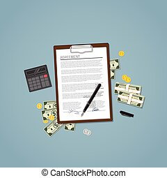 Agreement with money - Agreement document with text and...