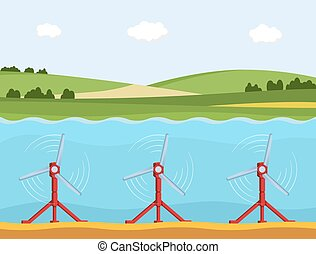 Tidal power station. Flat style cartoon tidal tower station....