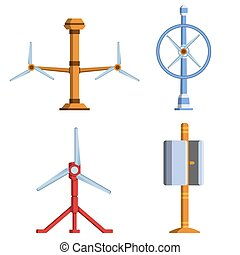 Set of different tidal power station rotters. Clean water...
