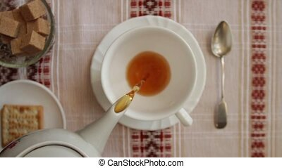 pour tea into a cup overhead shot