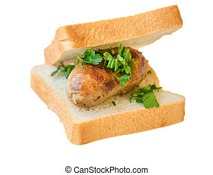 Home sausage with bread isolated on white background....